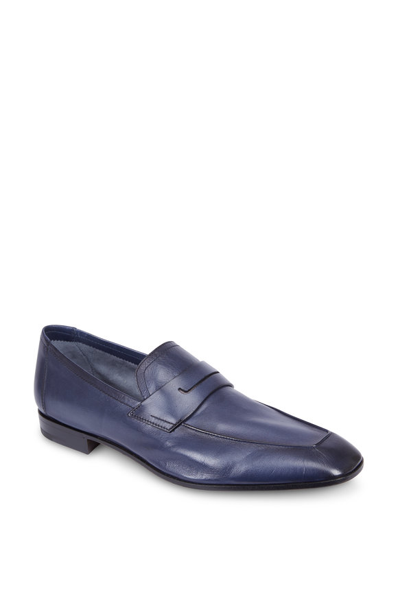 Berluti Lorenzo Rimini Navy Blue Kangaroo Leather Loafer
