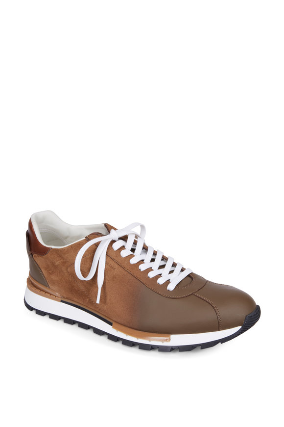 Berluti  On Track Torino Taupe Calfskin Suede Sneaker