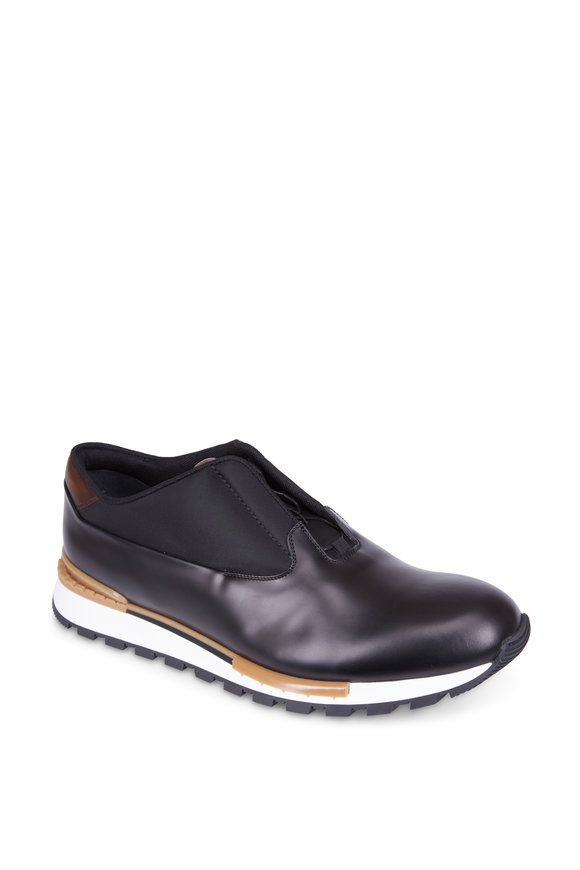 Berluti Fast Track Black Glazed Leather Sneaker