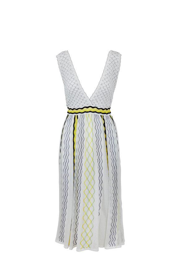 M Missoni White V-Neck Midi Dress