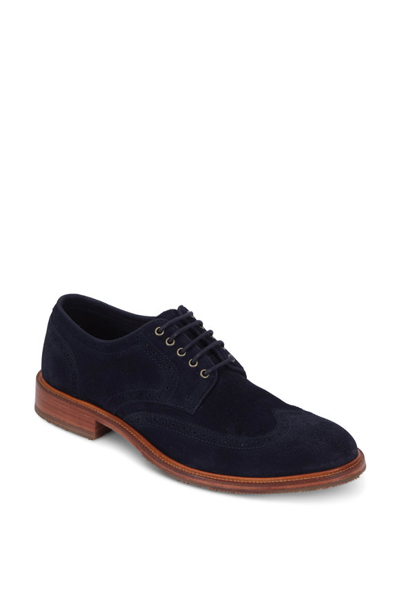Trask Logan Navy Blue Suede Wingtip Derby Shoe
