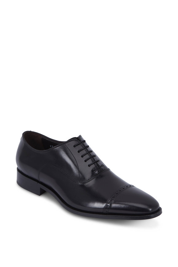 To Boot New York Harding Black Leather Cap-Toe Oxford