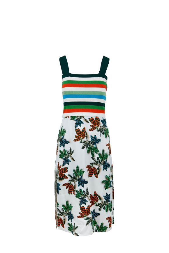 Akris Punto Cream Multi Striped & Palm Print Sleeveless Dress
