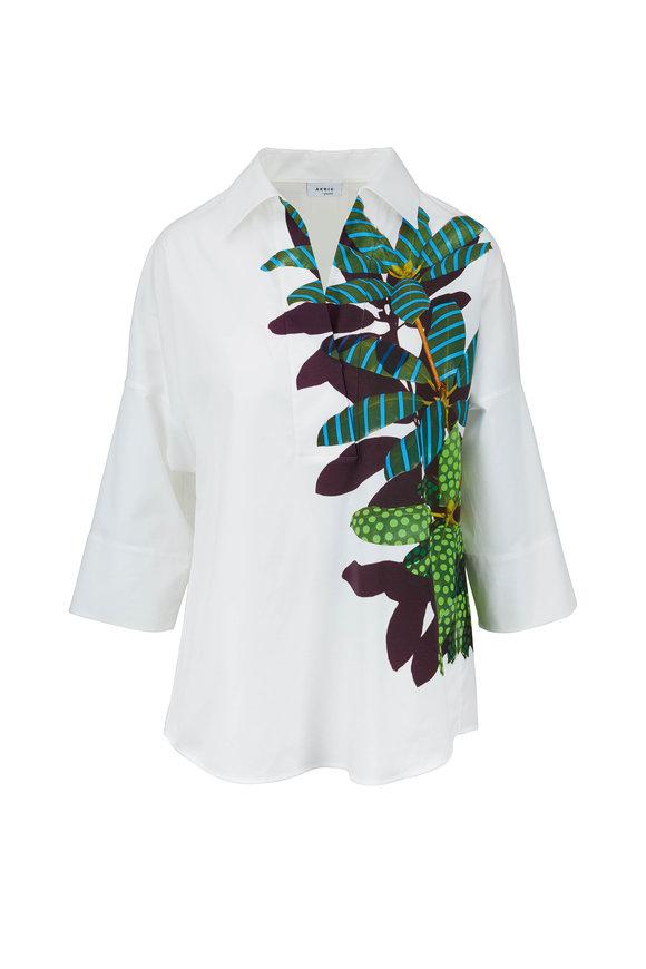 Akris Punto White Tropical Leaf Print Kimono Blouse