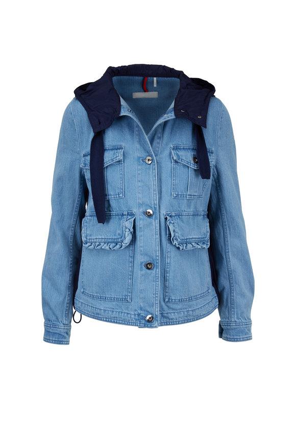 Moncler Resinite Denim & Nylon Hooded Jacket