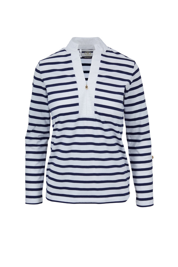 Bogner Lacey Navy & White Striped Zip Placket Top