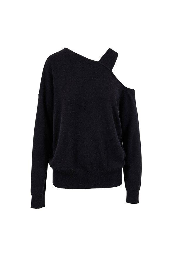 Elizabeth & James Hearst Black Wool & Cashmere Open Shoulder Sweater
