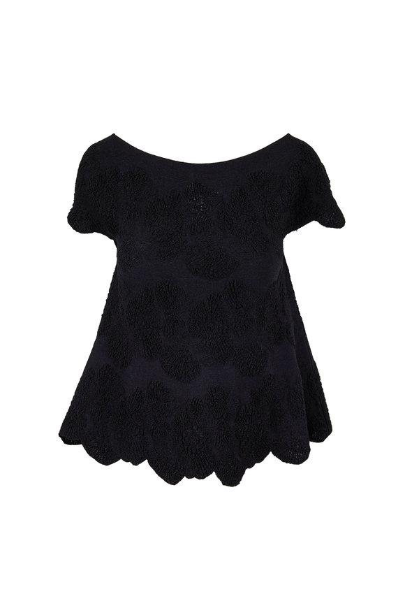 D.Exterior Black Stretch Jacquard Knit Cap Sleeve Top