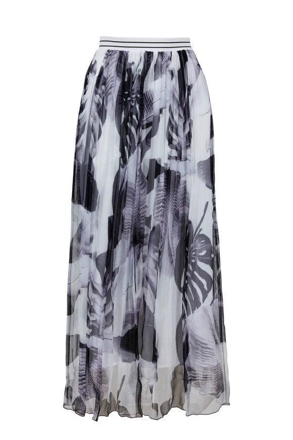 D.Exterior White & Black Pleated Flowy Skirt