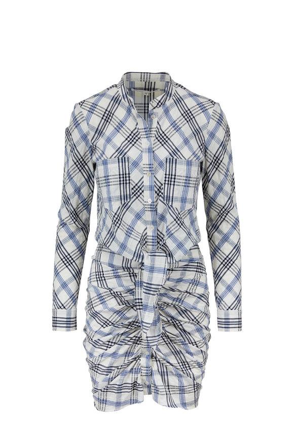 Veronica Beard Della Blue Plaid Shirred Shirt Dress