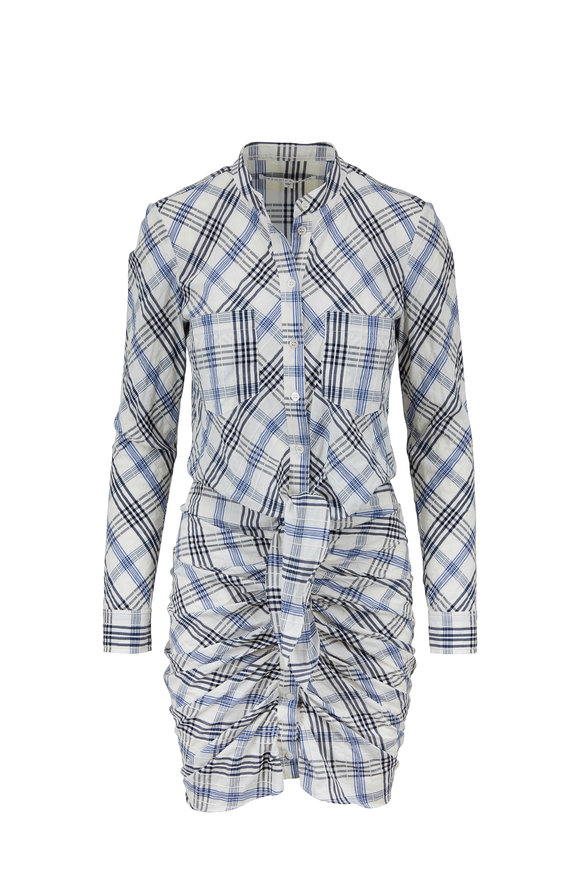 Veronica Beard Della Blue Plaid Shirred Shirt Dress