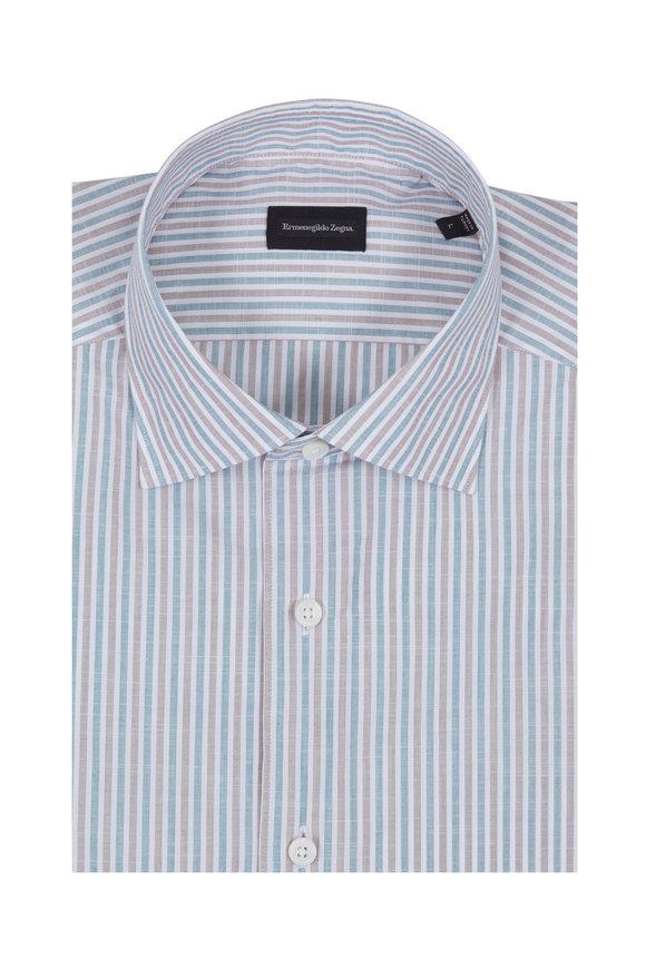 Ermenegildo Zegna Red & Blue Striped Classic Fit Sport Shirt