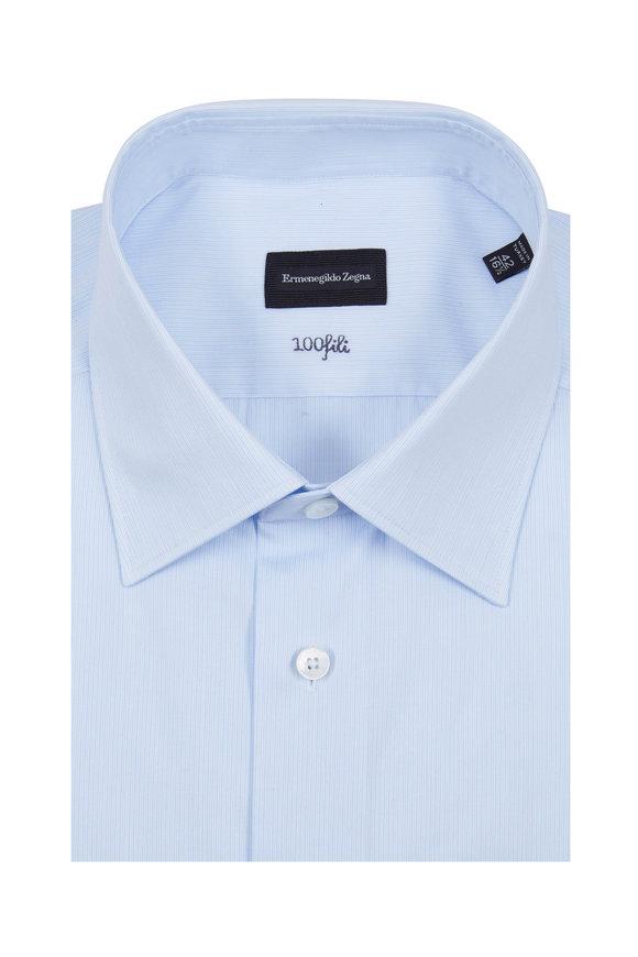 Ermenegildo Zegna Light Blue Striped Dress Shirt