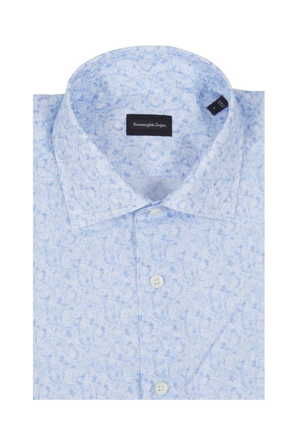 Ermenegildo Zegna Light Blue Floral Print Linen Blend Sport Shirt