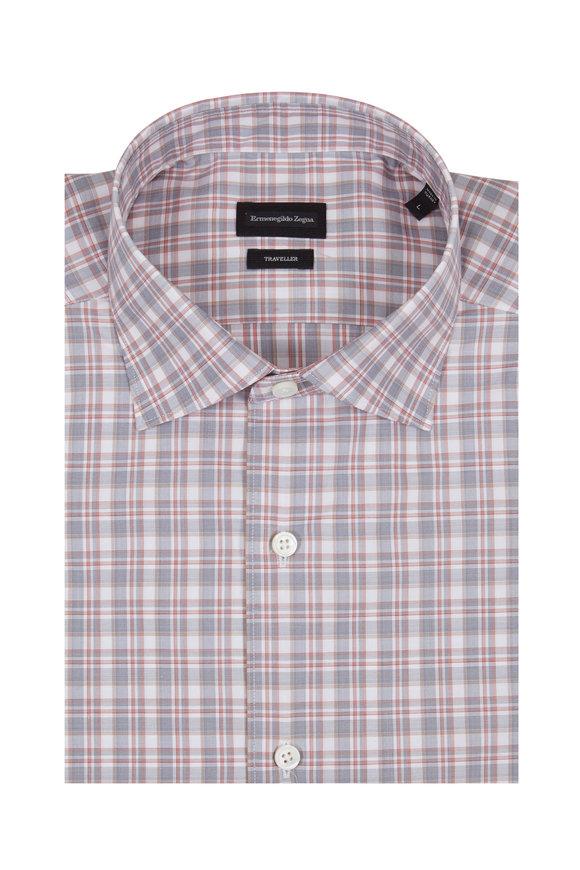 Ermenegildo Zegna Red & Grey Plaid Traveler Sport Shirt