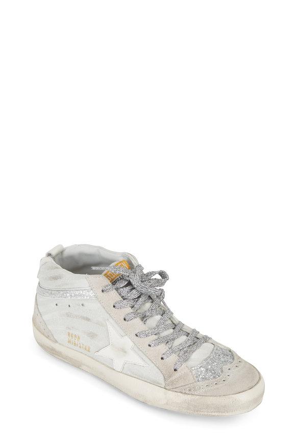 Golden Goose Midstar White & Silver Zebra Glitter Sneaker
