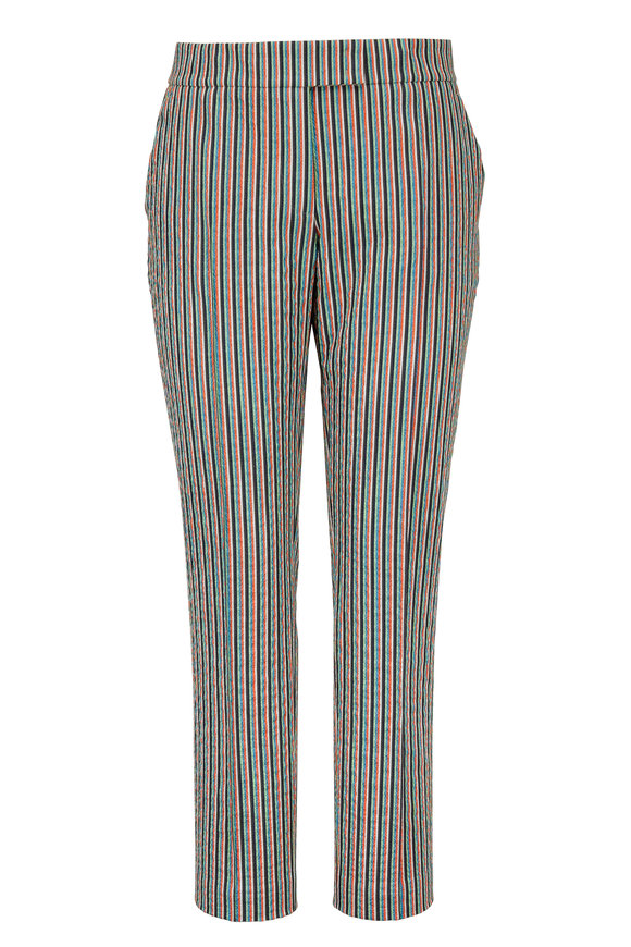 Akris Punto Frankie Multicolor Seersucker Slim Pant