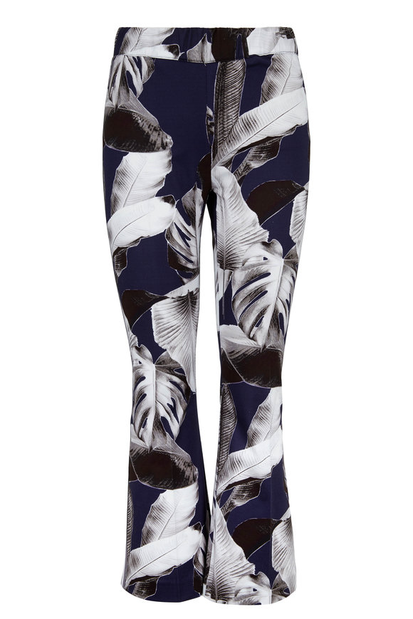 D.Exterior Navy Palm Print Pull On Crop Pant