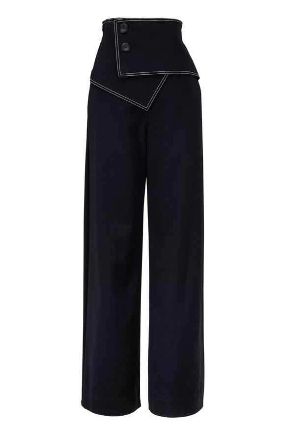Derek Lam Black Stretch Sateen High-Waisted Flare Pant