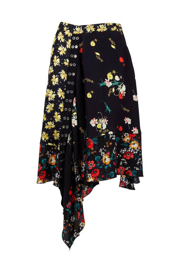 Derek Lam Multicolor Silk Mixed Print Asymmetrical Skirt