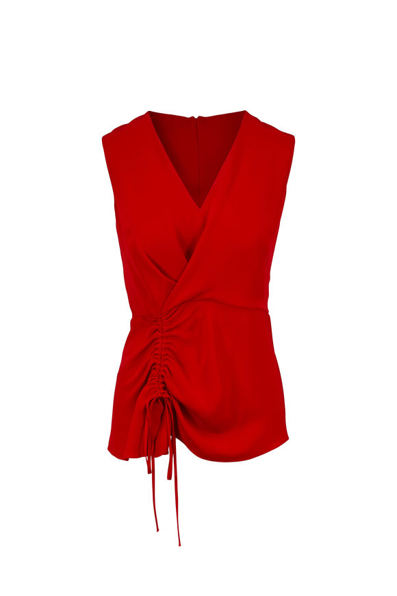 Derek Lam Red Silk Ruched Asymmetrical Sleeveless Blouse