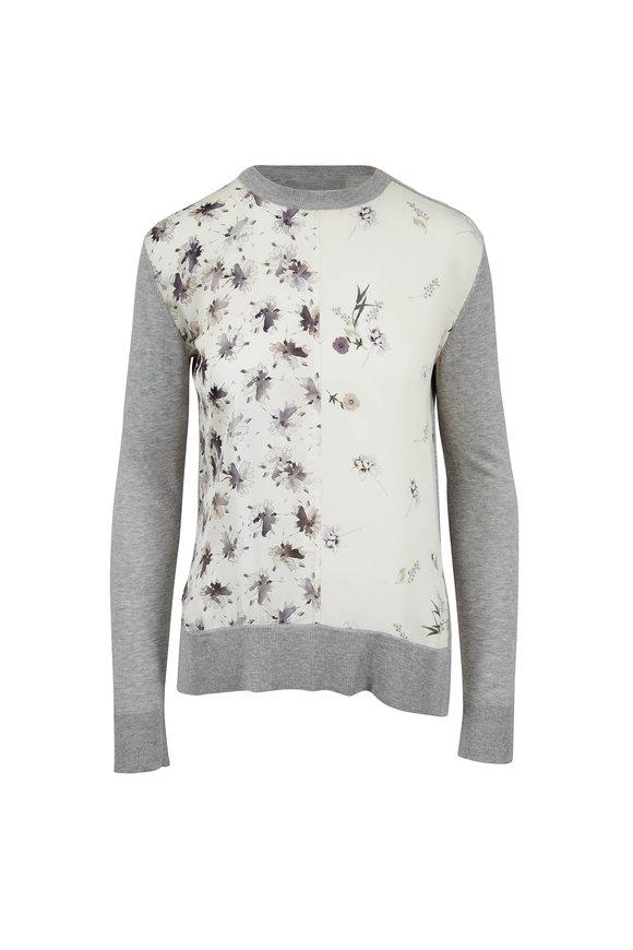 Derek Lam Ivory Mixed Print Crewneck Sweater
