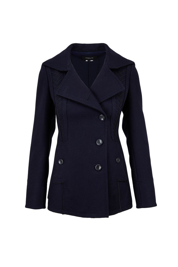Derek Lam Navy Blue Wool & Cashmere Embroidered Peacoat