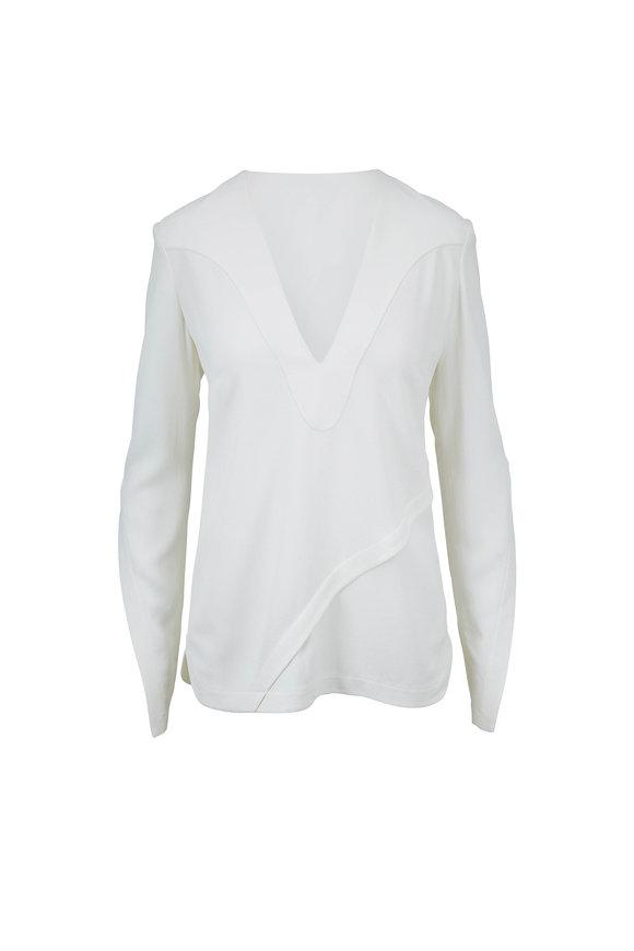 Derek Lam White Asymmetrical Seams Long Sleeve Blouse