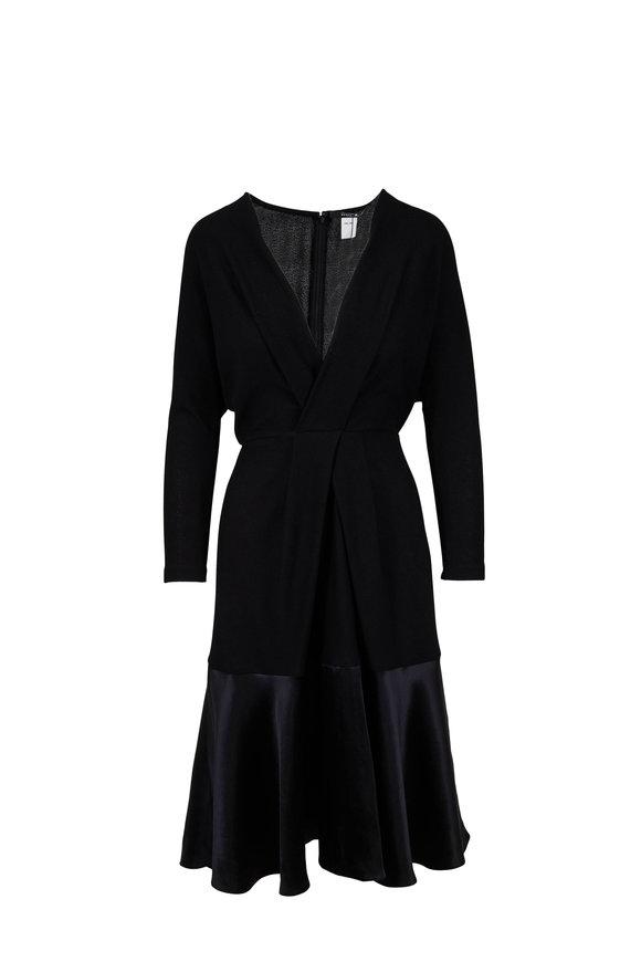 Derek Lam Black V-Neck Long Sleeve Satin Hem Dress