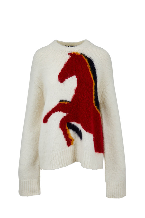Derek Lam Ivory Wool & Alpaca Horse Intarsia Sweater