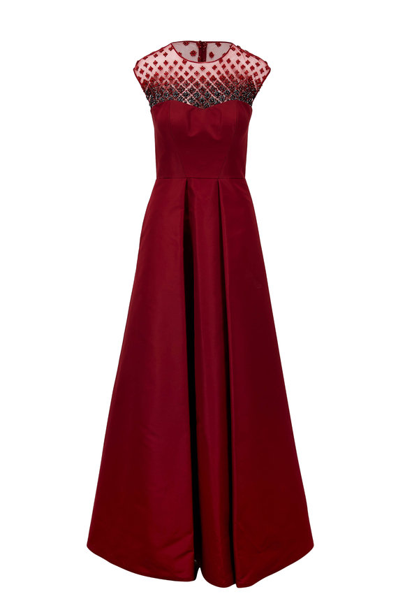 Pamella Roland Wine Silk Taffeta Illusion Beaded Gown