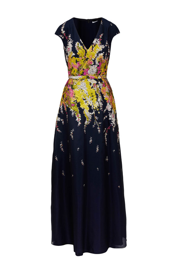 Pamella Roland Navy Blue Floral Embroidered Cap Sleeve Gown