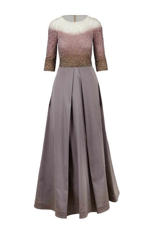 Pamella Roland Rose & Bronze Ombrè Sequin Elbow Sleeve Gown