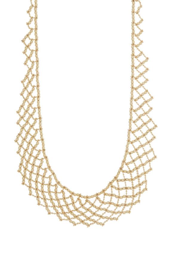 Alberto Milani 18K Yellow Gold Beaded Mesh Collar Necklace