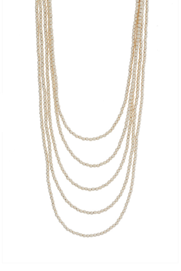 Alberto Milani 18K Yellow Gold Five Layer Beaded Necklace