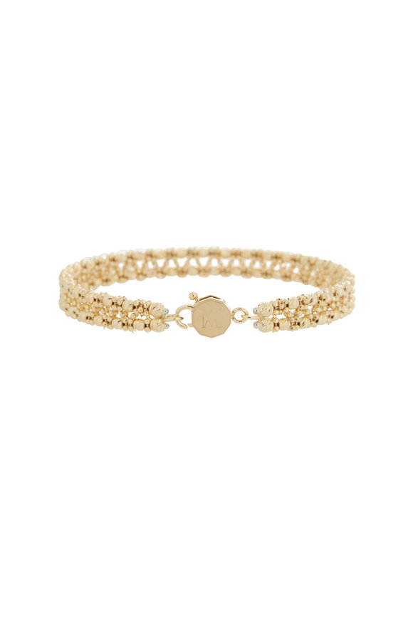 Alberto Milani 18K Yellow Gold Double Row Beaded Bangle