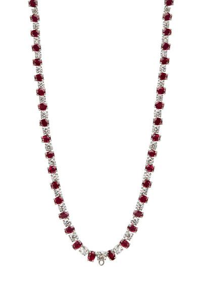 Oscar Heyman - Platinum Red Ruby & White Diamond Necklace
