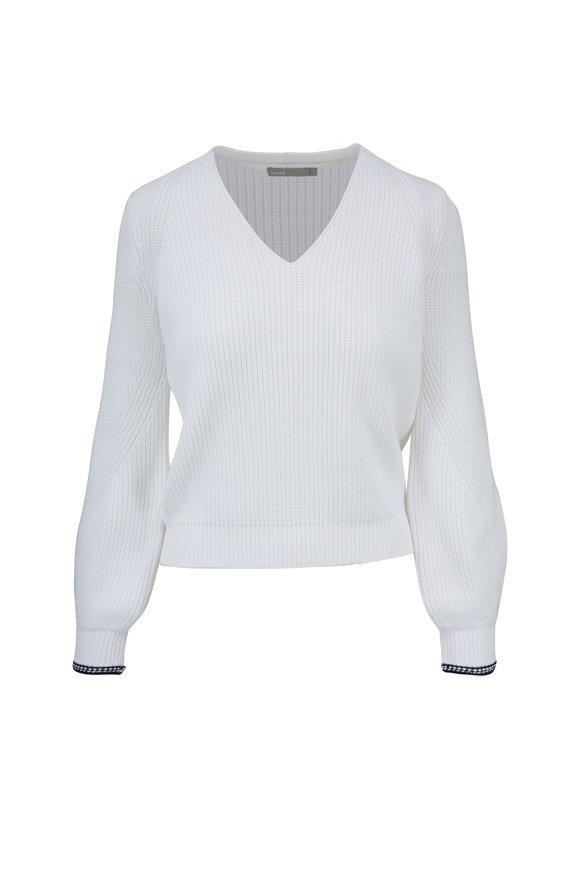 Vince Optic White V-Neck Rib Sweater