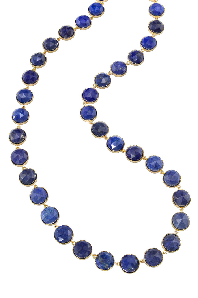 Yellow Gold Rose-Cut Lapis Chain Necklace