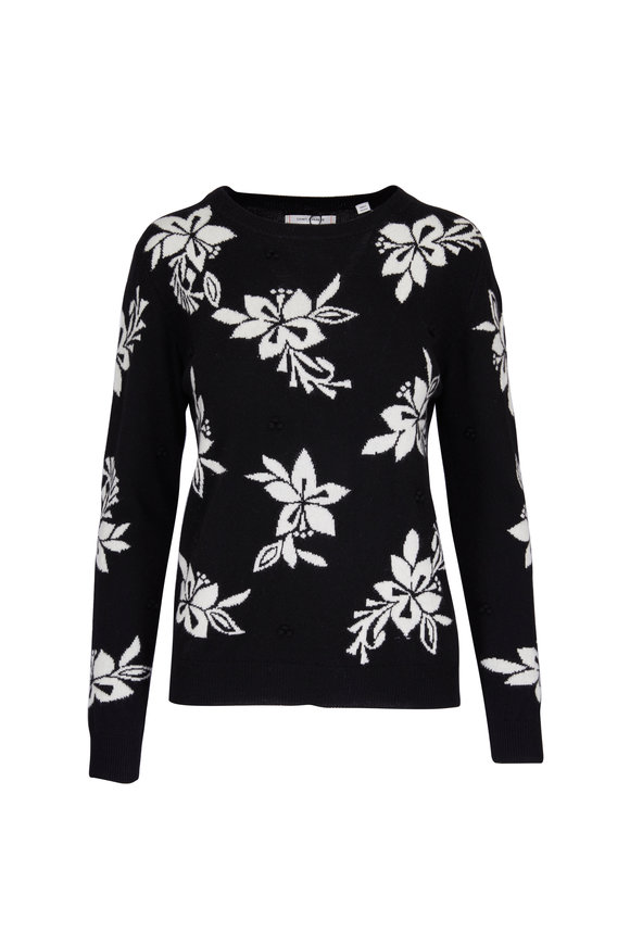 Chinti & Parker Hibiscus Black & White Knot Stitch Sweater