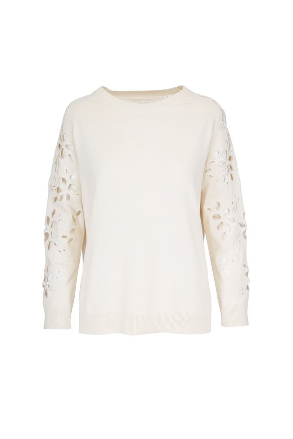 Chinti & Parker Flower Cut-Out Buttermilk Sweater
