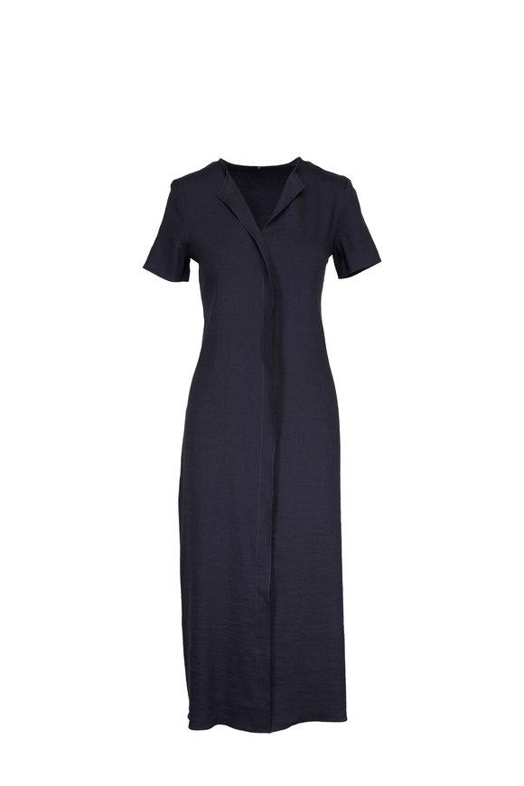 Peter Cohen Anthracite Linen Blend Short Sleeve Dress