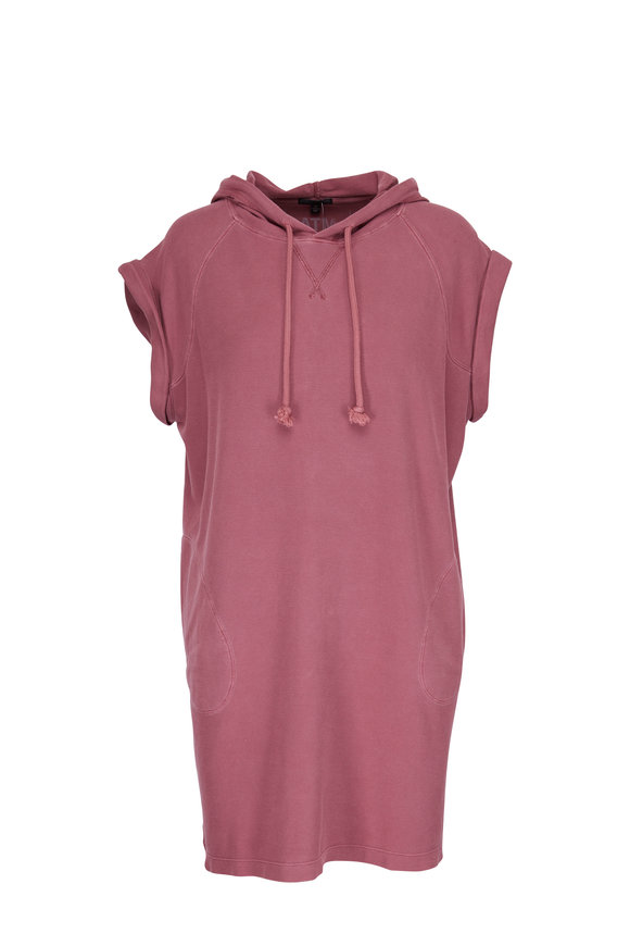 A T M Faded Red Pique Hooded Dress