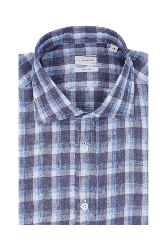 Luciano Barbera Blue Plaid Linen Sportshirt