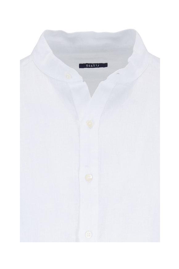 04651 White Linen Quarter-Button Pullover