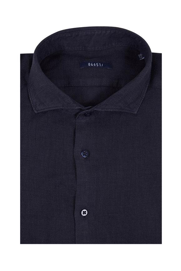 04651 Navy Blue Linen Sport Shirt