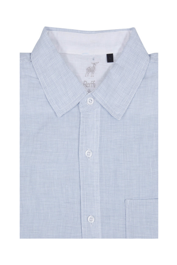 Raffi  Light Blue Check Linen Sport Shirt