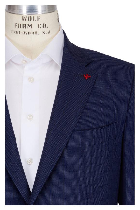 Isaia Aquaspider Navy Blue Striped Suit