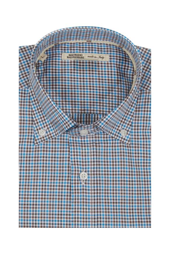Maurizio Baldassari Blue & Brown Gingham Sport Shirt