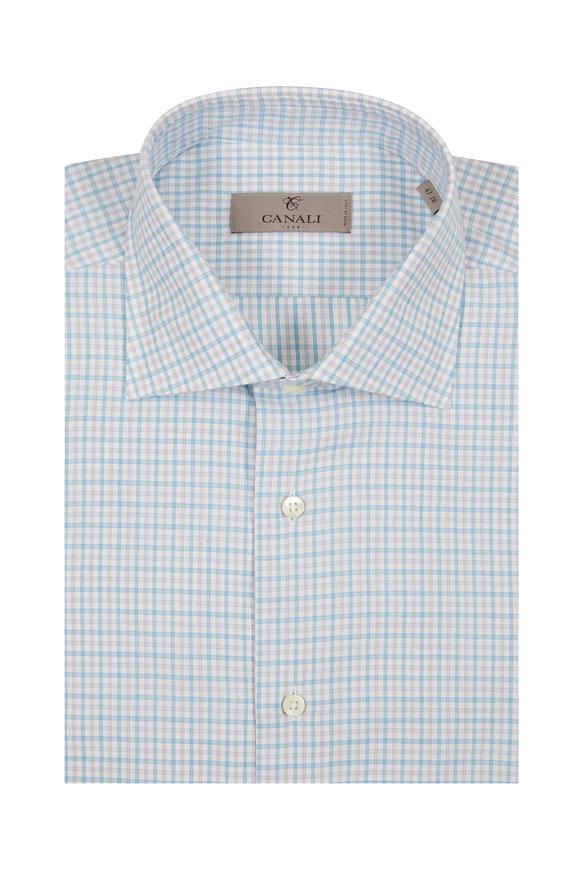 Canali Aqua Check Dress Shirt
